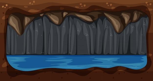 Ein dunkler untergrundwasser-höhlen-vektor