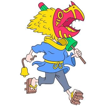 Ein echtes japanisches monster, das eine gruselige maske trägt, die einen regenschirm trägt, vektorillustrationskunst. doodle symbolbild kawaii.