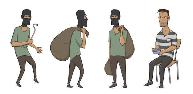 Ein einbrecher, räuber, dieb, mann in sturmhaubenmaske mit riesigem sack und brechstange. ein verbrecher im gefängnis in gestreiften kleidern. illustration auf weißem hintergrund.