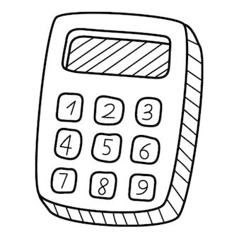 Ein einfacher taschenrechner. gekritzel. handgezeichnete schwarz-weiß-vektor-illustration.