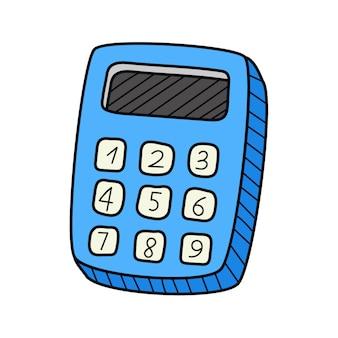 Ein einfacher taschenrechner. gekritzel. von hand gezeichnete bunte vektorillustration.