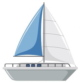 Ein einfaches segelboot auf weißem hintergrund