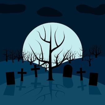 Ein einsamer baum auf dem friedhof nachts vor dem mond. vektorhintergrund für halloween