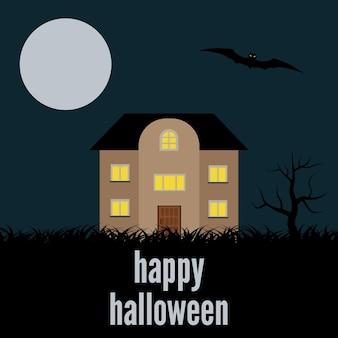 Ein einsames haus in der nacht. vektorhintergrund für halloween