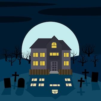 Ein einsames haus nachts vor dem mond. vektorhintergrund für halloween