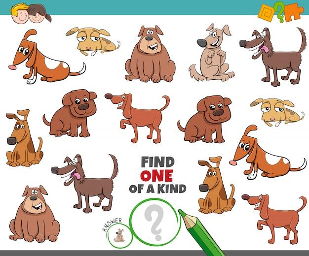 Ein einzigartiges spiel für kinder mit comic-hunden