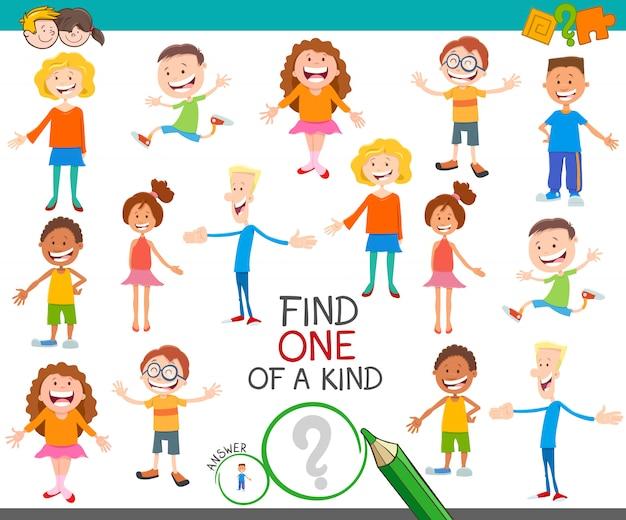 Ein einzigartiges spiel mit cartoon-kindern und jugendlichen
