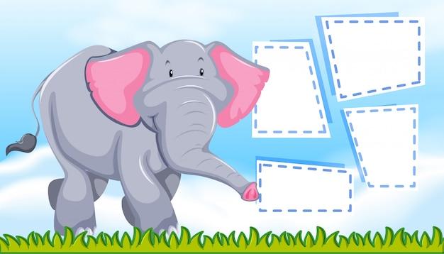 Ein elefant auf leere notiz