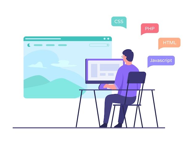 Ein entwickler sitzt auf einem stuhl und arbeitet am computer. erstellen sie eine website-anwendung mit einer programmiersprache im flachen cartoon-stil.
