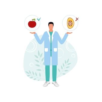 Ein ernährungsberater bietet die richtige ernährung oder junk food auf weißem hintergrund. medizinischer arbeiter, gewichtsverlust und diätetik. gesunder und schlanker körper. infografiken, logo-design, website-design