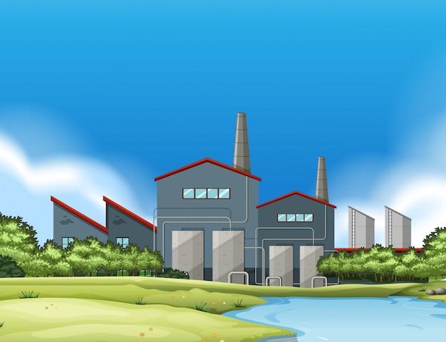 Ein fabrikgebäude in der natur