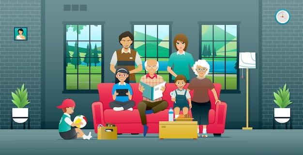 Ein familienmitglied sitzt auf dem sofa im haus