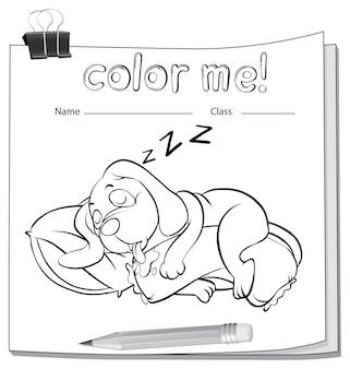 Ein farbiges arbeitsblatt mit einem schlafenden hund