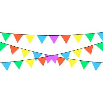 Ein feiertagsband mit vielen farben in verschiedenen farben ist auf einem weißen hintergrund dargestellt.