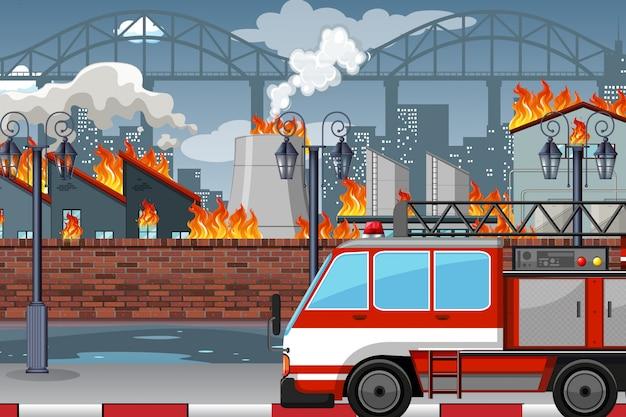 Ein feuer in der fabrik