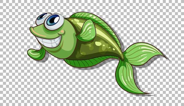 Ein fisch-cartoon-charakter isoliert auf transparentem hintergrund