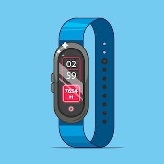Ein fitness-armband misst, wie viele schritte sie pro tag unternommen haben. flache illustration