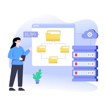 Ein flacher illustrationsvektor des cloud-rechenzentrums herunterladen