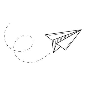 Ein fliegender papierflieger. gründung, entwicklung und betrieb. gekritzel. handgezeichnet schwarz und weiß