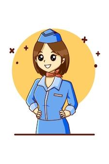 Ein flugbegleiter für die cartoon-illustration des arbeitstages