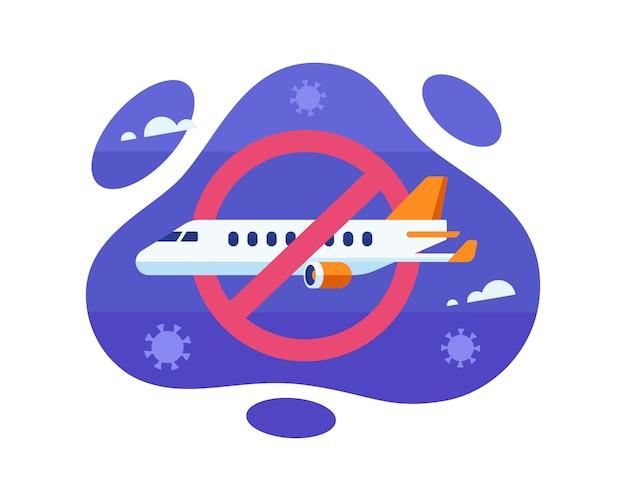 Ein flugverbot während des coronavirus-pandemie-ausbruchs illustration