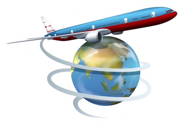 Ein flugzeug, das rund um den globus fliegt