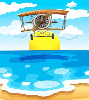 Ein flugzeug fliegt über dem meer