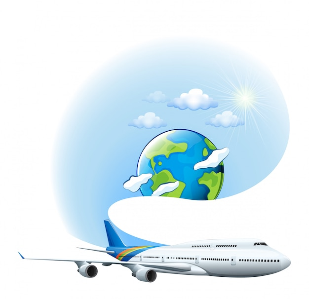 Ein flugzeug und ein globus