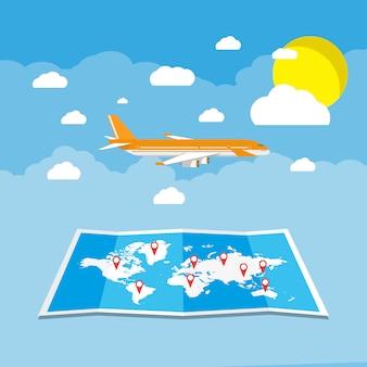 Ein flugzeug zum reiseziel fliegen