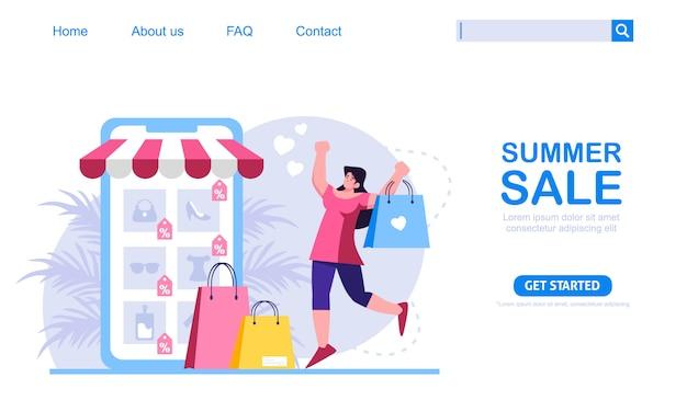 Ein frauengeschäft mit sommerrabatt im geschäft für mobile anwendungen. online-shopping-konzept, perfekt für webdesign, banner, mobile app oder landing page. skalierbare und bearbeitbare illustration.
