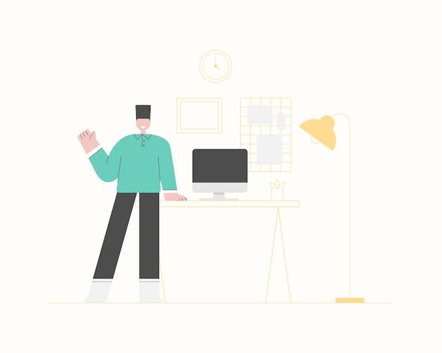 Ein freiberuflicher mann, der zu hause arbeitet. work from home-konzept. intelligentes online-arbeiten. home-office-arbeitsplatz.