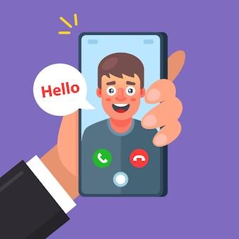 Ein freund macht einen videoanruf. gespräch von zwei personen. zeichenillustration.