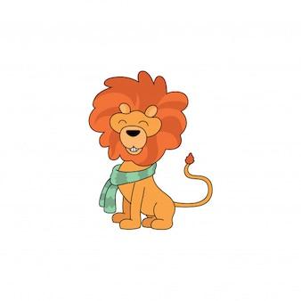Ein freundlicher löwe cartoon trägt einen niedlichen schal