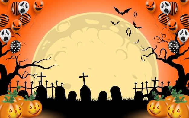 Ein friedhof und ein grabstein mit fliegenden fledermäusen und einem massiven mond im hintergrund. es steigen bunte luftballons und muster auf, der boden hat einen leuchtenden, geschnitzten kürbis im halloween-thema.