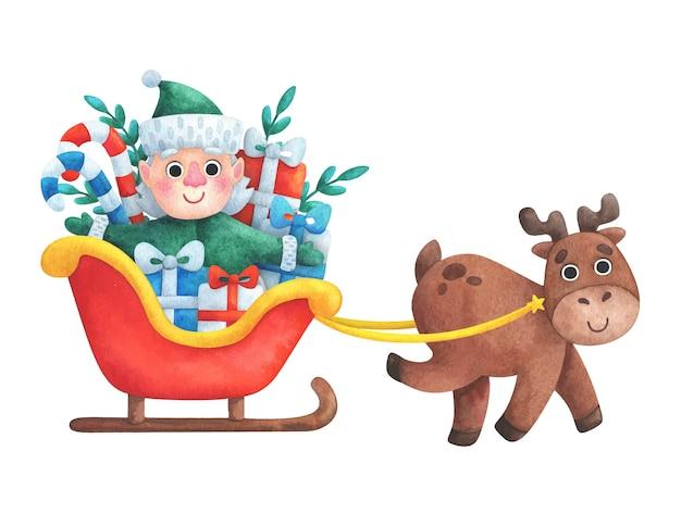 Ein fröhliches rentier fährt einen elfen mit weihnachtsgeschenken in einem winterschlitten. neujahrsillustration