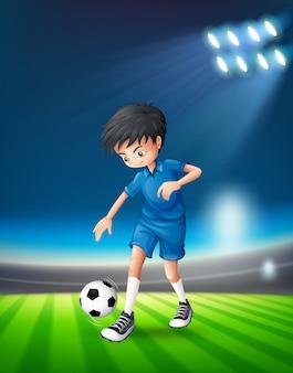 Ein fußballspieler am stadion