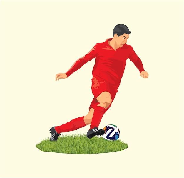 Ein fußballspieler läuft mit dem dribbeln des balls beim turnier