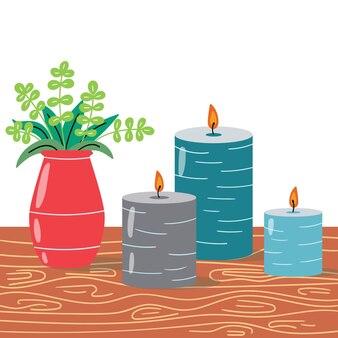 Ein gemütlicher raum mit dekorativen kerzen und einer vase mit pflanzen. modernes interieur. bearbeitbare vektorillustration