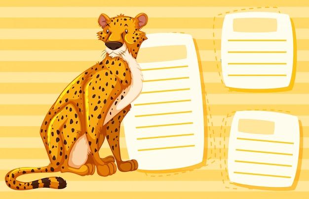 Ein gepard auf leere notiz
