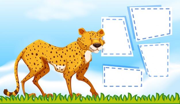 Ein gepard auf notizvorlage