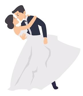 Ein gerade verheiratetes paar, das in die hochzeitszeremonie tanzt