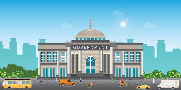 Ein gericht oder regierungsgebäude, landschaftsaußengebäudevektorillustration.
