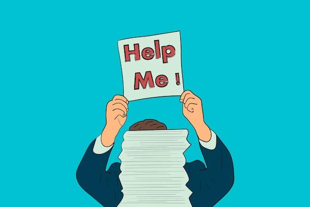 Ein geschäftsmann bittet um hilfe hinter einem stapel papieren