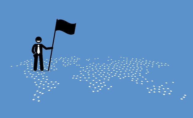 Ein geschäftsmann, der eine flagge hält und oben auf den vereinigten staaten einer weltkarte steht.
