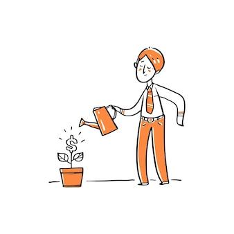 Ein geschäftsmann, der geldbaum gießt.