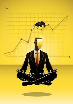 Ein geschäftsmann, der in lotussitz-meditation sitzt und auf wandkonzeptillustration profitiert