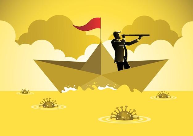 Ein geschäftsmann, der mit einem teleskop auf einem papierboot vorwärts segelt, um das coronavirus zu überwinden. geschäftskonzeptillustration