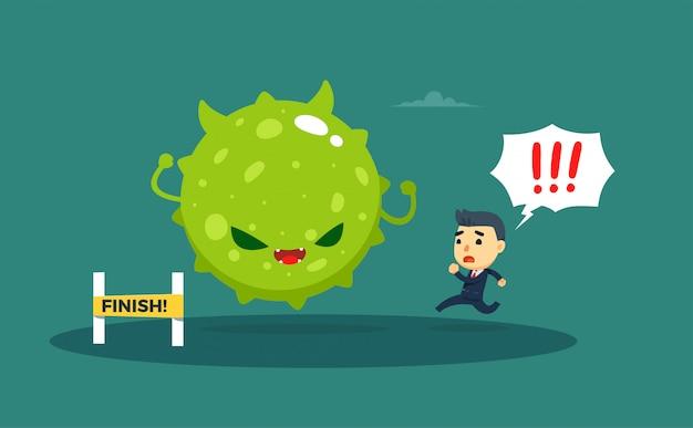 Ein geschäftsmann, der von einem großen grünen virus verfolgt wird.