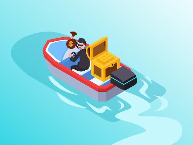 Ein geschäftsmann, der wie ein dieb handelt, der etwas geld stiehlt und mit einem boot flieht