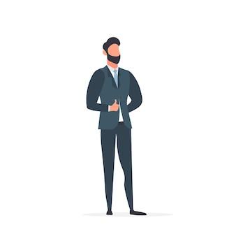 Ein geschäftsmann in einem business-anzug zeigt klasse. unternehmer zeigt eine klasse. isoliert. vektor.